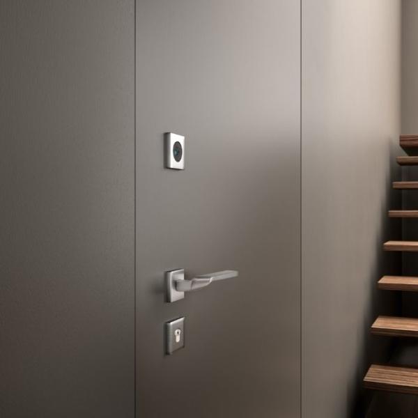 porte blindee affleurante grise